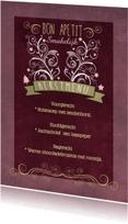 Menukaarten - Decoratief Roze Kerstdiner - BK