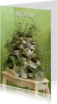 Uitnodigingen - deftige High Tea Time - bloemenservies