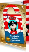 Kinderfeestjes - Deurhanger piraat uitnodiging