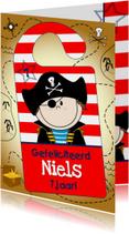 Kinderkaarten - Deurhanger vrolijke piraat