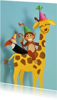 Verjaardagskaarten - Dieren feestje