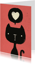 Dierenkaarten - Dierenkaart Roze Zwarte Kat