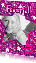 Kinderfeestjes - DISCO UITNODIGING meiden met sterren