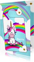 Kinderkaarten - DIY deurhanger met unicorn en je eigen naam