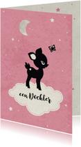 Felicitatiekaarten - Dochter geboren hertje op wolkje