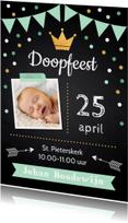 Doopkaarten - Doopkaart krijtbord confetti foto jongen