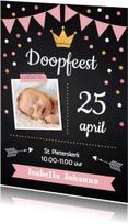 Doopkaarten - Doopkaart krijtbord confetti meisje foto-LB