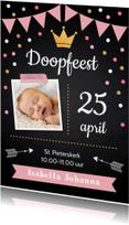 Doopkaarten - Doopkaart krijtbord confetti meisje foto