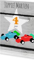 Verjaardagskaarten - Eigen tekst ster en autootjes