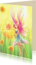 Kunstkaarten - Elfje met bloem