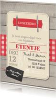 Uitnodigingen - Etentje uitnodiging hout kaart