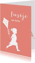 Kinderfeestjes - Feest uitnodiging  meisje met vlieger
