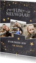 Nieuwjaarskaarten - Feestelijke nieuwjaarskaart met krijtbord en gouden sterren