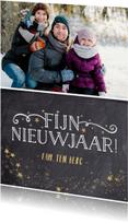 Nieuwjaarskaarten - Feestelijke nieuwjaarskaart met krijtbordlook en sterren
