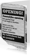 Uitnodigingen - Feestelijke Opening Advertentie