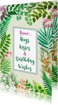 Verjaardagskaarten - Feestelijke verjaardagskaart met plantjes en blaadjes