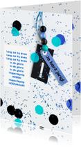 Verjaardagskaarten - felicitatie 1 jaar confetti blue