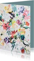 Verjaardagskaarten - Felicitatie blanco - bloemen geschilderd