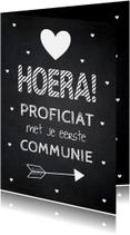 Felicitatiekaarten - Felicitatie communie krijtbord