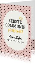 Felicitatie - communie meisje stippen