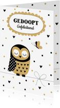 Felicitatiekaarten - Felicitatie doop uiltje confetti - LB