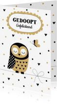 Felicitatiekaarten - Felicitatie doop uiltje confetti