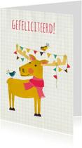 Verjaardagskaarten - Felicitatie eland met  vogeltjes