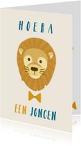 Felicitatiekaarten - Felicitatie geboorte jongen met leeuw en strik