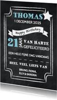 Verjaardagskaarten - Felicitatie man krijtbord - DH