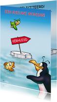 Felicitatiekaarten - Felicitatie pinguins nieuw woning vis