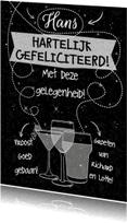 Felicitatiekaarten - Felicitatie tekst op zwart - HE