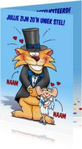 Felicitatiekaarten - Felicitatie uniek stel leeuw en muisje