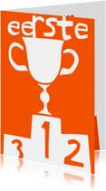 Felicitatiekaarten - Felicitatie voor de eerste plaats in oranje