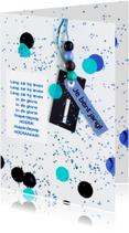 Verjaardagskaarten - felicitatiekaart 1 jaar confetti blue