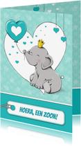 Felicitatiekaarten - Felicitatiekaart geboorte zoon met olifant en ballon - IH