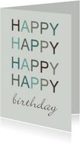 Verjaardagskaarten - Felicitatiekaart happy happy