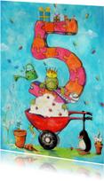 Verjaardagskaarten - Felicitatiekaart Hoera 5 jaar!