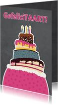Verjaardagskaarten - Felicitatiekaart met grote taart - DD