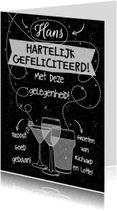 Felicitatiekaarten - Felicitatiekaart met witte tekst op zwart