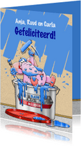 Felicitatiekaarten - Felicitatiekaart verhuisd met emmer blauwe muurverf