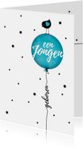 Felicitatiekaarten - Felicitatiekaart vogeltje silhouet op blauwe ballon