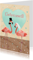 Felicitatiekaarten - flamingo koppel