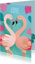 Valentijnskaarten - flamingo's love