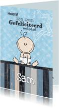 Felicitatiekaarten - geboorte jongen lief blauw ster