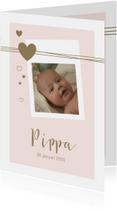 Geboortekaartjes - Geboorte  met lijnen, foto, hartjes voor een meisje