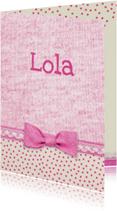 Geboortekaartjes - geboorte roze strikje meisje