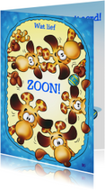 Felicitatiekaarten - Felicitatie geboorte zoon giraffen kijken in wieg