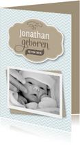 Geboortekaartjes - Geboortekaart jongen zigzag foto