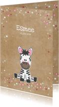 Geboortekaartjes - Geboortekaart kraft-stijl met lieve zebra meisje