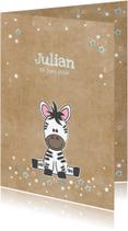Geboortekaartjes - Geboortekaart kraft-stijl met lieve zebra
